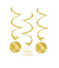Swirl decorations goud/wit - 80
