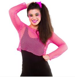 Kort net shirt roze