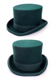 Tophat wolvilt groen met elastische band