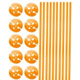 Ballonstokjes met houder oranje 10 stuks