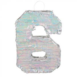 Piñata cijfer '6' holografisch zilver
