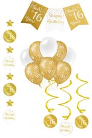 Verjaardag Feestpakket 4 delig goud   16 jaar