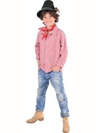 Tiroler shirt rood wit deluxe