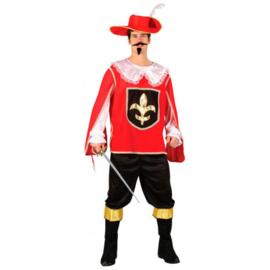 Realistisch musketier kostuum rood