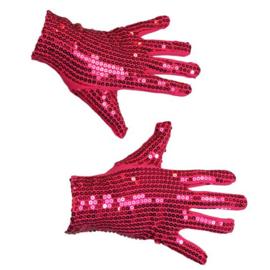 Paillettenhandschoenen pink