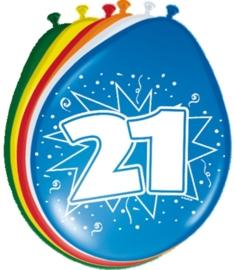 Ballonnen 21 jaar (assorti kleuren)
