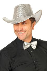 Cowboy hoed paillet zilver