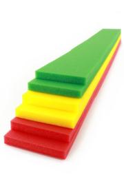 Decoratie foam rood, geel groen 6 stuks