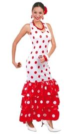 Spaanse dames jurk wit rood