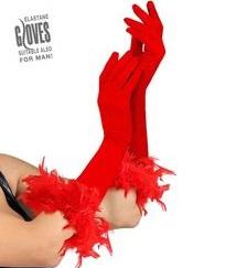 Lange rode handschoenen met veren