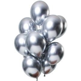 Ballonnen spiegel effect zilver 10 stuks