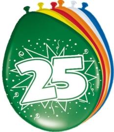 Ballonnen 25 jaar (assorti kleuren)