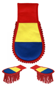 Schouder epaulette blauw/geel/rood