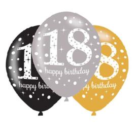 Ballonnen sparkling gold 18 jaar