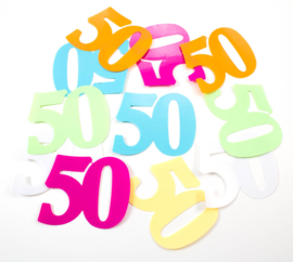 Tafeldecoratie / sier confetti 50 jaar XL