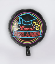 Neon folieballon Hoera geslaagd