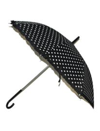 Paraplu dots 50's zwart