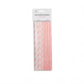 20  Papieren rietjes 6mm x 197mm stripe/dot baby pink