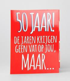Fun suprise kaart 50 jaar geen vat