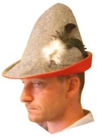 Bayernhoed grijs/rood