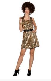 Disco queen jurkje goud