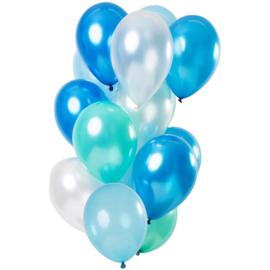 Ballonnen Blue Azure Metallic 15 stuks