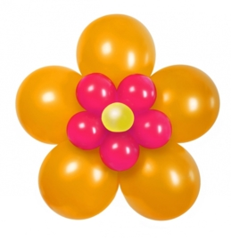 Ballonnen set bloem oranje