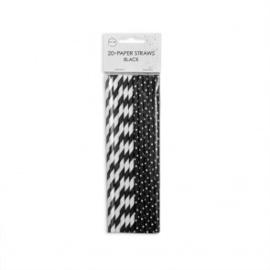 20  Papieren rietjes 6mm x 197mm stripe/dot zwart