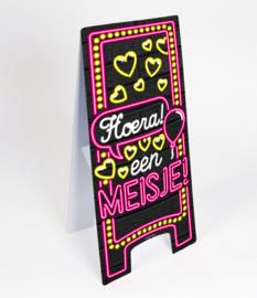 Waarschuwings bord Neon Hoera een Meisje