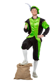 Pieten kostuum pansamt neon groen zwart