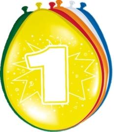 Ballonnen 1 jaar (assorti kleuren)