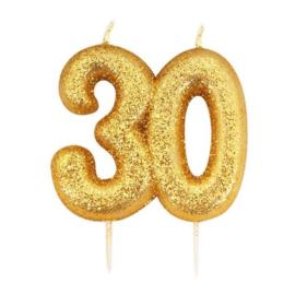 Nummerkaars glitter goud '30'