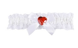 Kousenband wit rood met hartje