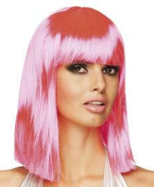 Pruik dance neon pink