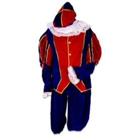 Pieten kostuum fluweel rood blauw
