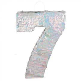 Piñata cijfer '7' holografisch zilver