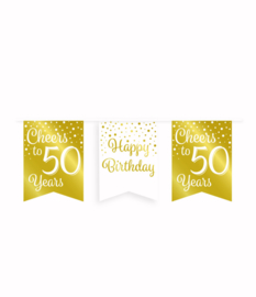 Party vlaggenlijn goud/wit - 50