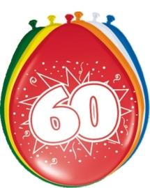 Ballonnen 60 jaar (assorti kleuren)