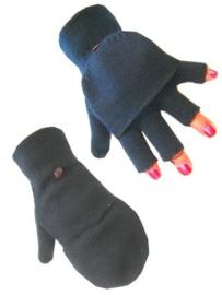 Vingerloze handschoenen zwart met kap