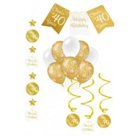 Verjaardag Feestpakket 4 delig goud   40 jaar