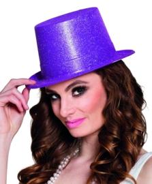 Hoge hoed glitter paars