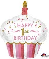 Folieballon cake 1st BDAY girl SuperShap