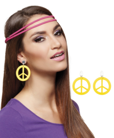 Peace oorbellen geel