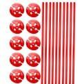 Ballonstokjes met houder rood 10 stuks