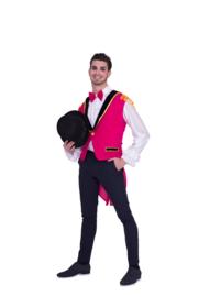 Pink circus vest heren