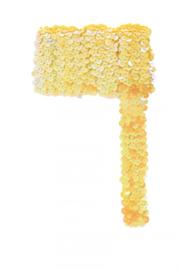 Paillettenband breed elastisch geel 3m