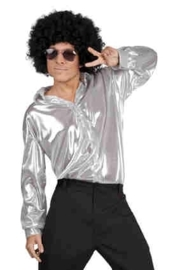 Disco shirt shiny Zilver