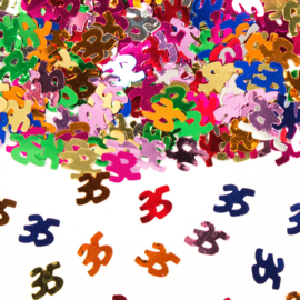 Tafeldecoratie / sier confetti 35 jaar