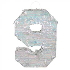 Piñata cijfer '9' holografisch zilver