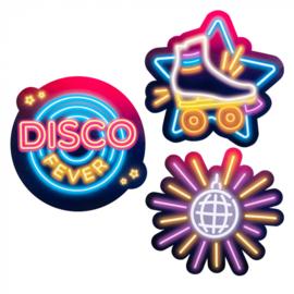 Set 3 Kartonnen decoraties 'Disco fever'